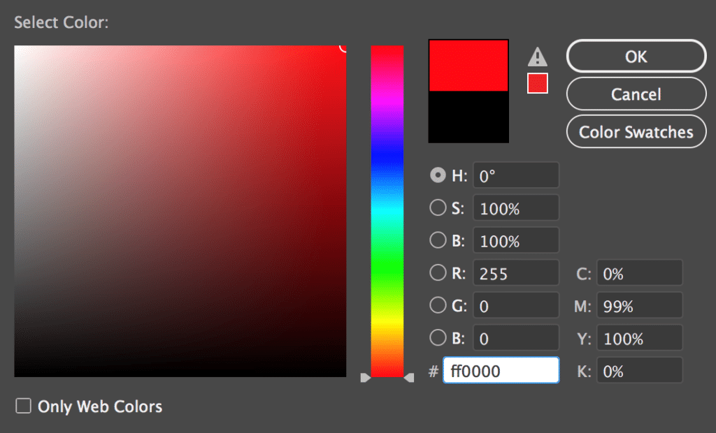 Adobe Color Picker Window